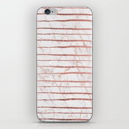 Stylish rose gold glitter stripes white marble pattern iPhone Skin