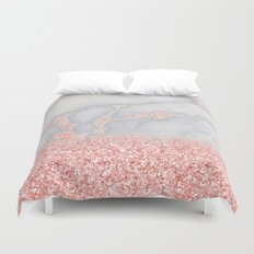 Sparkly Pink Rose Gold Ombre Bohemian Marble Duvet Cover