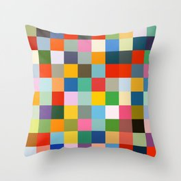 Haumea - Abstract Colorful Pixel Patchwork Art Throw Pillow