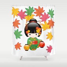 Japanese Fall Kokeshi Doll Shower Curtain