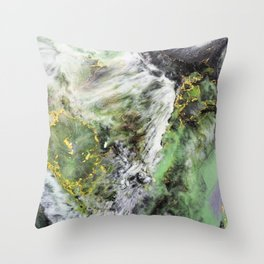 Emerald Green Marble with Gold Throw Pillow