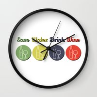 wine Wall Clocks featuring wine by flydesign