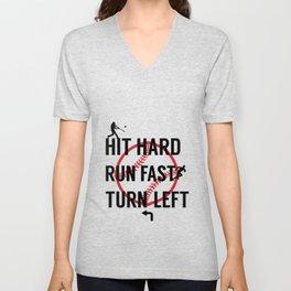 Hit Hard Run Fast Turn Left Baseball Player Sports Lover Retro Game Day TShirt Unisex V-Neck