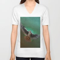 falcon V-neck T-shirts featuring Falcon by ED Art Studio