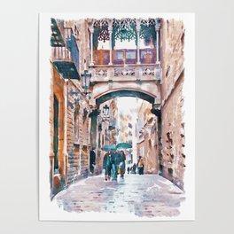 Carrer del Bisbe - Barcelona Poster