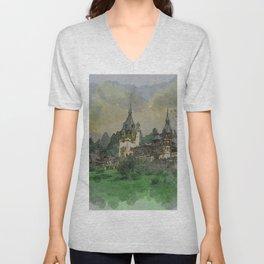 Peles Castle Romania Watercolor Unisex V-Neck