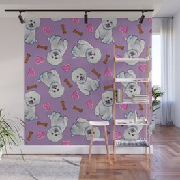 Bichon Frise Love Pattern on Lavender Wall Mural