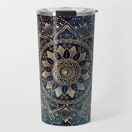 Elegant Gold Mandala Blue Galaxy Design Travel Mug