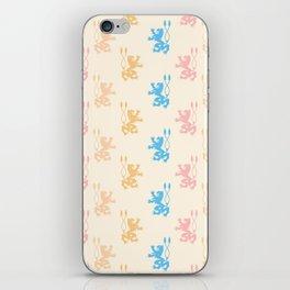 Vintage chic pink blue yellow lions damask pattern iPhone Skin