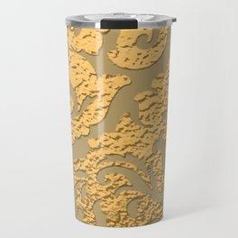 Gold Metallic Damask Print Travel Mug