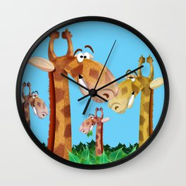 Giraffes in trees Wall Clock
