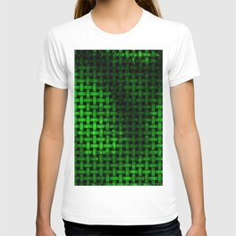 Green Abstract Weave Pattern T-shirt