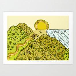 keen for a surf nz surf adventure by surfy birdy Art Print