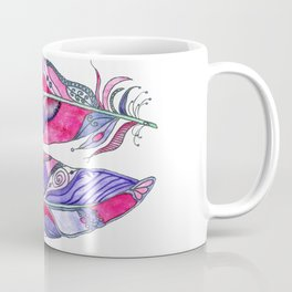 Bohemian Spirit Feathers - Magenta & Violet Coffee Mug