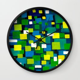 "Original Abstract Acrylic Painting by  ""City Lights"" Colorful Geometric Square Pattern Gre Wall Clock"
