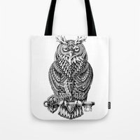 owl Tote Bags featuring Great Horned Owl by BIOWORKZ