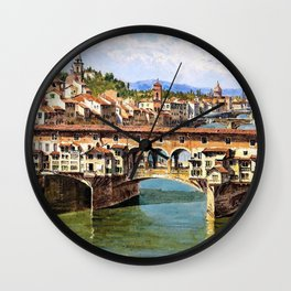 12,000pixel-500dpi - Antonietta Brandeis - Ponte Vecchio To Florence - Digital Remastered Edition Wall Clock