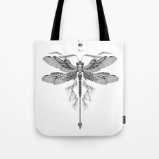 Dragon Fly Tattoo Black and White Tote Bag