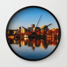 sunrise on downtown portland Wall Clock