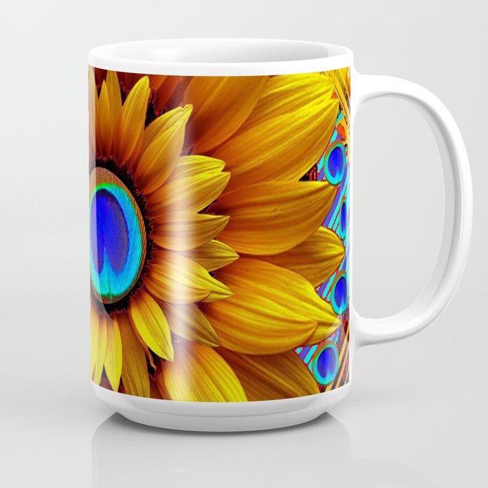 8d01af205d9 SURREAL GOLDEN SUNFLOWERS PEACOCK BLUE EYES Coffee Mug