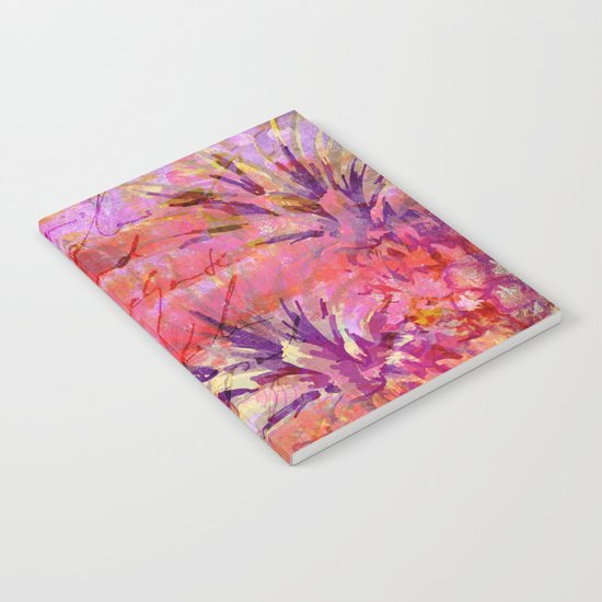 Tropical Pineapple pink abstract illustration art Notebook