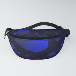 Large sea drops and petals on a blue background in nacre. Fanny Pack