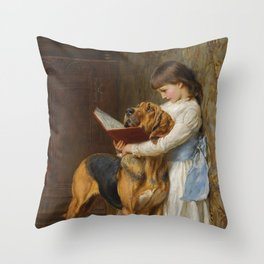 Briton Riviere Reading Lesson Compulsory Throw Pillow