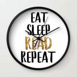 Eat Sleep Read Repeat Gold Wall Clock