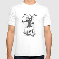 Skull and Tree Mens Fitted Tee MEDIUM White