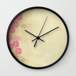 Woodland Fairytale: Wild rose border on light green (or yellow) Wall Clock