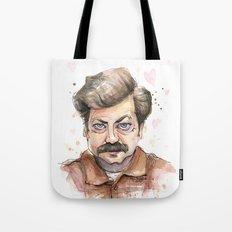 Ron Swanson Love Valentine Portrait Tote Bag