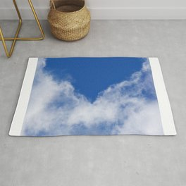 Clouds with blue heart design Rug