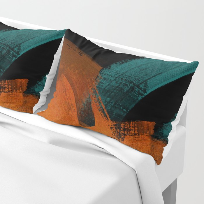 brush stroke black rust red petrol Pillow Sham