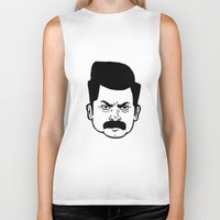 ron swanson Biker Tanks featuring Ron Swanson by bookotter