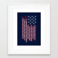 patriots Framed Art Prints featuring Native Patriots by Steven Toang