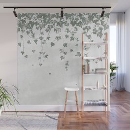 Gray Green Trailing Ivy Leaf Print Wall Mural