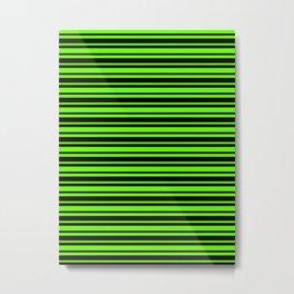 Bright Green and Black Horizontal Var Size Stripes Metal Print