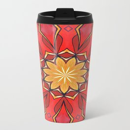 Ochre and Red Abstract Kaleidoscope Travel Mug
