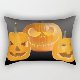 Orange Halloween Pumpkin faces Rectangular Pillow