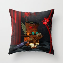 Steampunk, awesome, skull with rat and crow Throw Pillow
