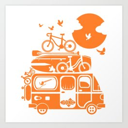 Funny family vacation camper Art Print