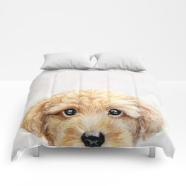 Toy poodle Dog illustration original painting print Comforters