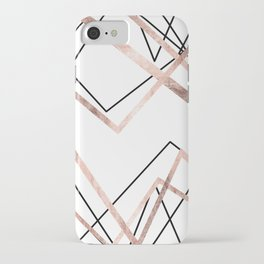 Rose Gold White Linear Triangle Abstract Pattern iPhone Case