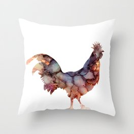 bird, rooster, alcohol ink Throw Pillow
