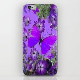 VIOLET PURPLE BUTTERFLIES FLORAL LILAC ART iPhone Skin