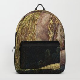 The Girl Who Lost It All, blond nude at the lakeside magical realism painting by John Bauer Backpack