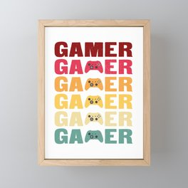 Vintage Retro Gamer Video Game Player Framed Mini Art Print