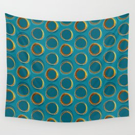 Solar Eclipse MCM Gold-Blue Wall Tapestry