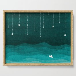 Falling stars, sailboat, teal, ocean Serving Tray