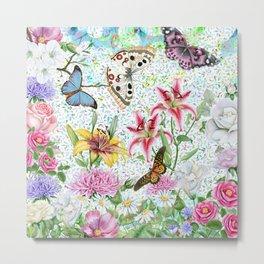Magical Butterfly Flower Garden Metal Print